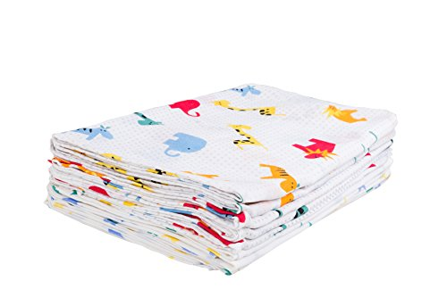 Clinotest Mullluiers voor baby's/spucktdoekjes/knuffeldoekjes, pak van 10, 80x80 cm, kleurrijke patronen, premium kwaliteit, getest op schadelijke stoffen, Öko-Tex gecertificeerd, kookvast