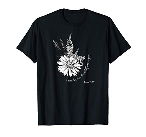 Women's Christian Botanical Flower Scripture T-Shirt
