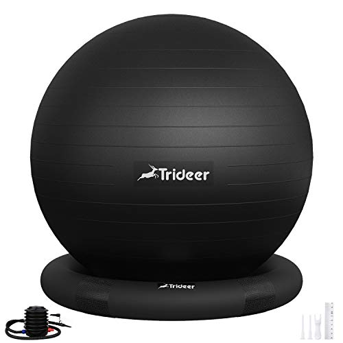 Trideer Ball Chair – Exercise Stability Yoga Ball with Base for Home and Office Desk, Ball Seat, Flexible Seating with Ring & Pump, Improves Balance, Back Pain, Core Strength & Posture