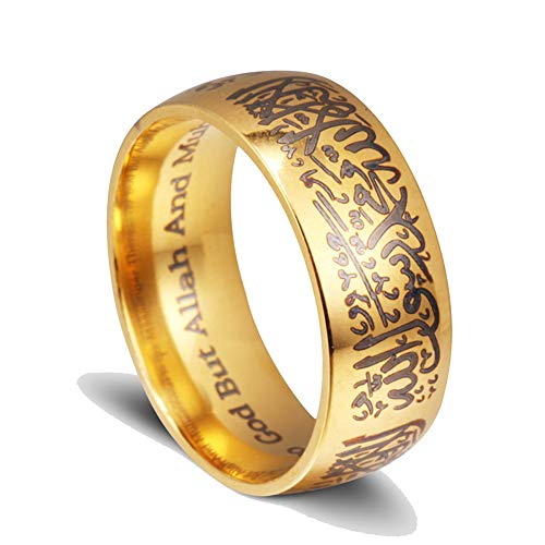 Anillos de mensajero del Corán de acero de titanio, musulmán, religioso, islámico, palabras Halal, hombres, mujeres, Vintage, anillo de Dios árabe Bague 13 Oro