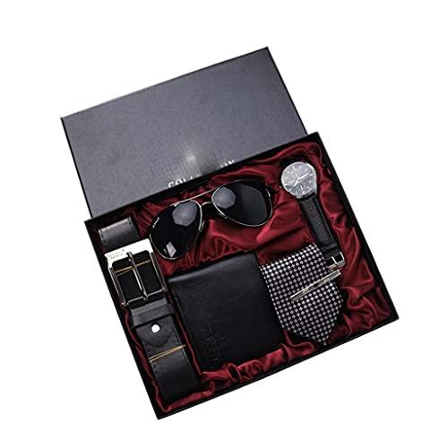 Diaod Juego de Regalo de 5 unids/Set para Hombre, Reloj bellamente empaquetado, Gafas, cinturón de Cuero, Cuentas, Pulsera, bolígrafo, Corbata, Traje, Regalos para Hombres (Color : Black)