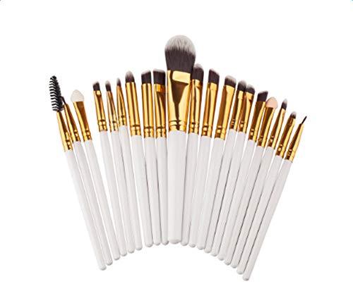 JoyRolly Maquillage des Yeux Brosse de 20 pièces Professionnel Multifonction Comestic Fard À Paupières Eyeliner Brosses Kit White