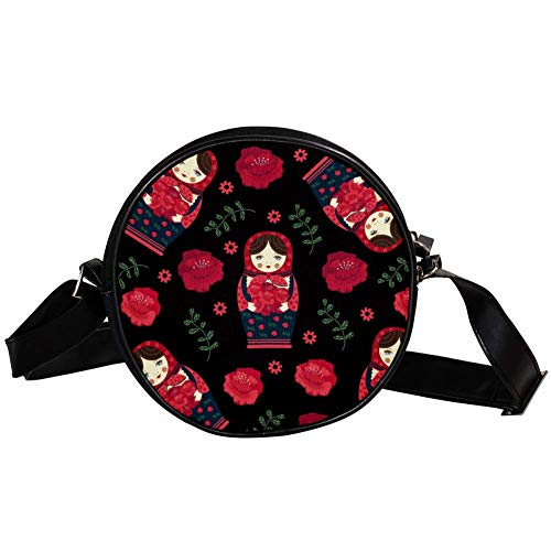 Runde Crossbody Tasche Kleine Handtasche Damen Mode Schultertaschen Messenger Bag Canvas Tasche Hüfttasche Zubehör für Frauen - Russische Matroschka Puppe Floral