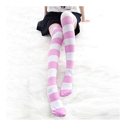 FKJSP Kawaii del Gato del Animado De La Raya Medias Japoneses School Girls Calcetines Overknee Medias hasta El Muslo Rosa Y Negro (Color : Pink, Size : One Size)