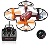 Haktoys HAK904C 7' 4-Channel 2.4GHz RC Quadcopter with Camera | 6-Axis Gyro Mini Drone with LED Lights | High/Low Speed Modes and 360° Loop Function | SD Card Included - Colors May Vary