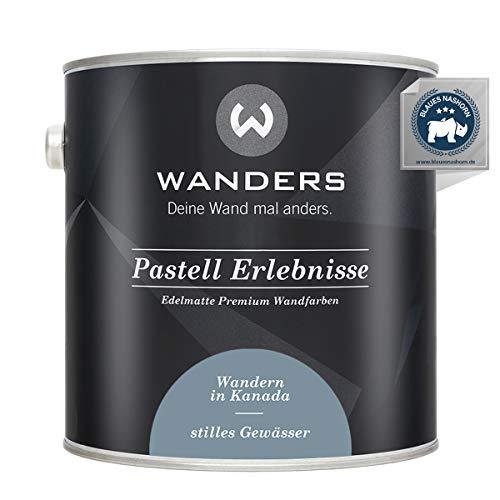 Wanders24® Pastell Erlebnisse (2,5 Liter, stilles Gewässer) edelmatte Wandfarbe - Feine Farben - in 40 Farbtönen - Wandfarbe Grau - Made in Germany