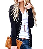 Women's V-Neck Solid Button Down Knitwear Soft Basic Long Sleeve Knit Snap Cardigan Sweater Black XL