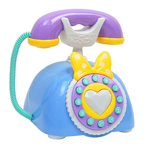 Nirmon Bebé NiiOs Juguete SimulacióN Retro TeléFono Luz MúSica Dibujos Animados EducacióN Temprana Rompecabezas Antiguo TeléFono Fijo-Azul