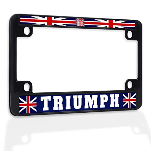 Fastasticdeals Metal Insert Bike License Plate Frame Triumph with British Flag Weatherproof Motorcycle Accessories Black 4 Holes Solid Insert
