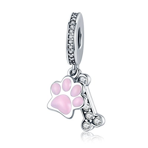Lily Jewelry Animal Pink Hund Fußabdruck & Dog Bone 925Sterling Silber Bead für Pandora Charm Armband