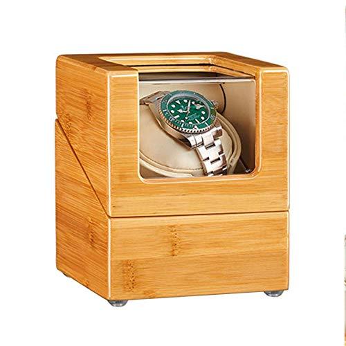 AMAFS Caja enrolladora de Reloj Individual automática de Madera de bambú 5 Modos de rotación Fuente de alimentación Dual Almohada Flexible para la mayoría de los Relojes Beautiful Home
