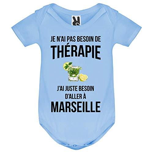 LookMyKase Body bébé - Je n AI Pas Besoin de Therapie j AI Juste Besoin d Aller à Marseille - Bébé Garçon - Bleu - 12MOIS
