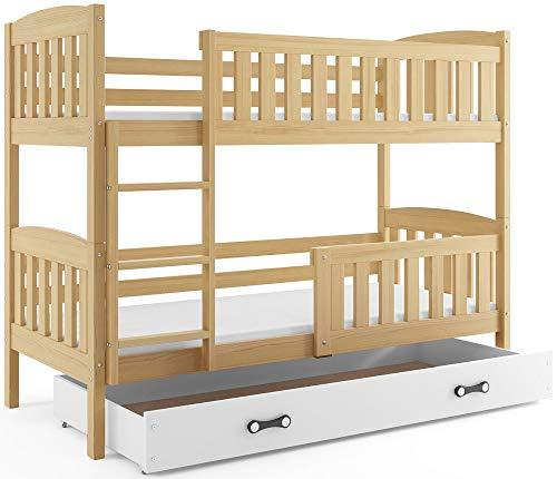 Interbeds Etagenbett QUBA 200x90cm aus Kiefernholz + Varianten; mit Lattenroste und Matratzen (Kiefer + weiße Schublade)
