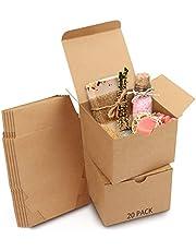 Belle Vous Brązowe Pudełka Prezentowe (20 Sztuk) - Wymiary Pudełka 12 x 12 x 9 cm - Łatwy Montaż - Kwadratowe Pudełko Upominkowe - Przyjęcia, Urodziny, Wesela, Święta
