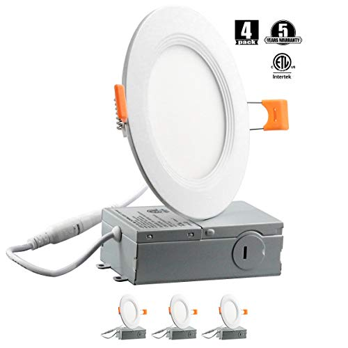 """9W 4"""" Ultra-Thin Recessed Ceiling Light with Junction Box,Slim LED Downlight Dimmable 3000K Warmlight, Dimmable Airtight Downlight, 650lm(65-80)W Equivalent ETL Certified, Pack of 4"""