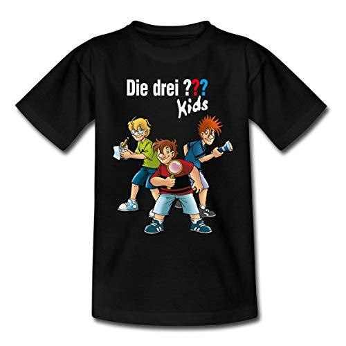 Spreadshirt Die DREI Fragezeichen Kids Detektive Spürnasen Teenager T-Shirt, 134-146, Schwarz