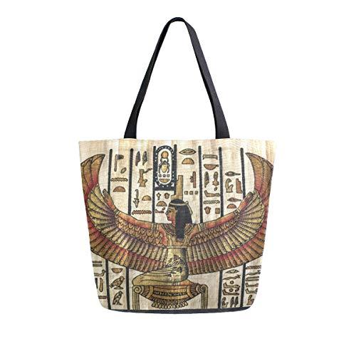 Bigjoke Canvas Tote Bag ägyptische Kunst Ethno Groß Frauen Casual Schultertasche Handtasche Wiederverwendbare Einkaufen Lebensmittel Tragbare Aufbewahrungstasche für Outdoor