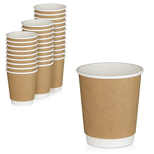[50 Pack] Disposable Coffee Cups - 8 oz Kraft Brown Double Wall Insulated To Go Coffee Cups - Kraft Paper Cups for Chocolate, Espresso, and Cocoa Drinks - Sturdy, Food Safe, and Eco-Friendly Hot Cups