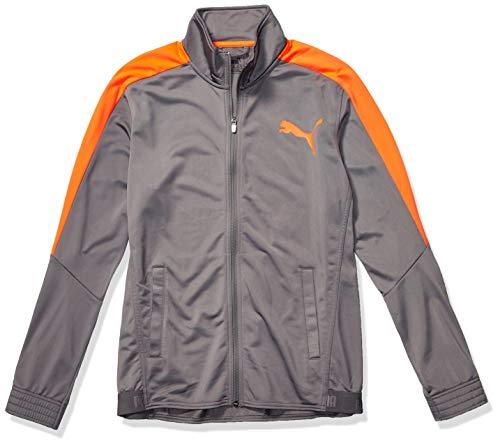 PUMA Men's Contrast Jacket, Castlerock- Nrgy Red, L