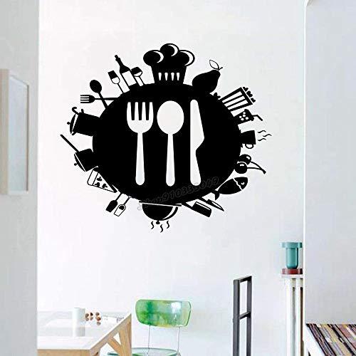 WERWN Arte de la Cocina Etiqueta de la Pared de la Cocina Cuchillo de Cocina Cuchara Tenedor Etiqueta de la Pared del Restaurante Etiqueta de la Pared de la Cocina Vinilo Cocina