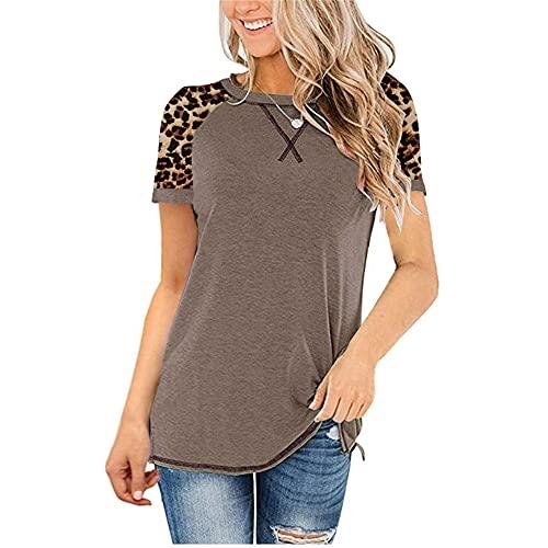 Camiseta Mujer Tops Mujer Sexy Elegante Patrón De Leopardo Empalme Cuello Redondo Manga Corta Moda De Verano Casual Suelta Cómoda Mujer Shirt C-Coffee 3XL