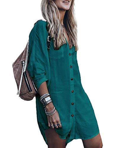 Bsubseach Long Sleeve Swimsuit Cover Up for Women Loose Button Down Swimwear Beach Shirt Tunic Dress Peacock Blue