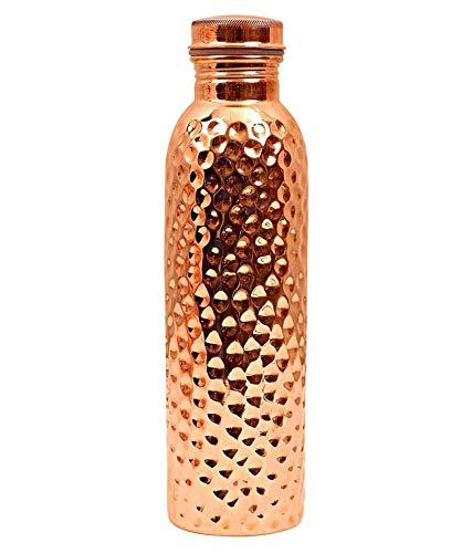 900 ML / 30 oz - Prisha Indien Craft ® Traveller's 100 % reines Kupfer Wasserflasche oder Thermoskanne Ayurveda Health Benefits - Designer Wasserflaschen - Weihnachtsgeschenk