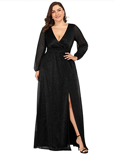 Ever-Pretty Women's Long Sleeve Deep V-Neck High Slit Plus Size Summer Party Gowns Black US20