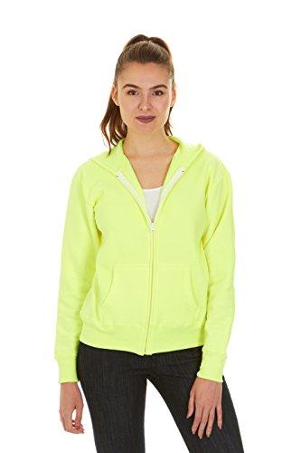 Hanes Women\'s Full Zip EcoSmart Fleece Hoodie, Neon Lemon Heather, 2XL
