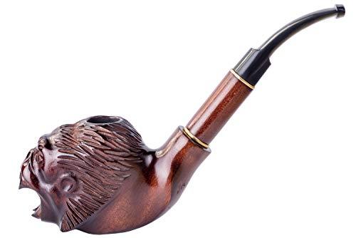 Dr. Watson - Pipa de Fumar de Madera del Tabaco, tallada a mano, se adapta al filtro de 9mm, Serie Lux Coleccionable, viene con bolsa, en caja (Mono Enojado)