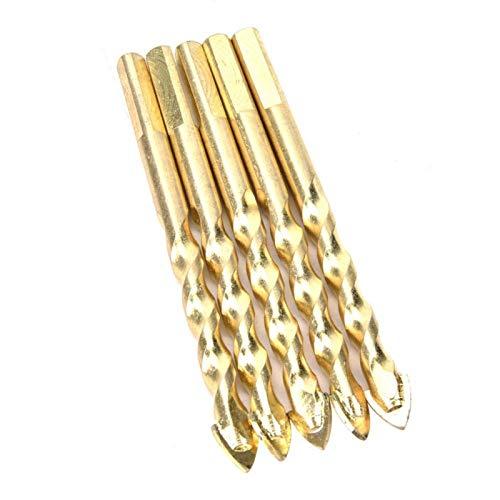 Brocas de taladro eficaces de alta dureza Herramientas de mano Broca ranurada para baldosas de cerámica(5 sticks 12mm)