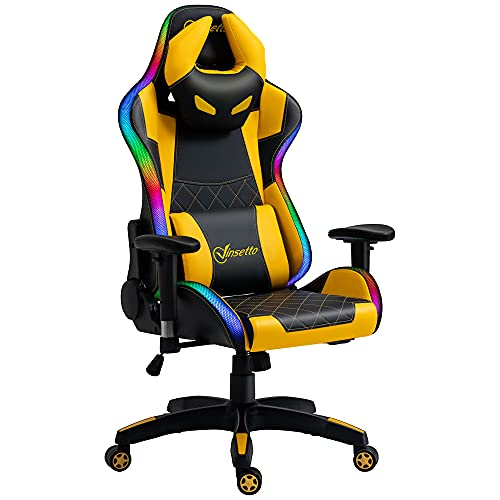 Vinsetto Racing Gaming Chair with RGB LED Light, Lumbar Support, Swivel Home Office Computer Recliner High Back Gamer Desk Chair, Black Yellow