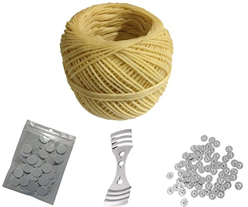 Homankit 200ft Spool Beeswax Hemp Candle Wick,100 pcs Candle Wick Sustainer Tabs,100 dots Double-Sided Wick Stickers and 1 Piece Stainless Wick Fixed Holder for Candle Making/Candle DIY