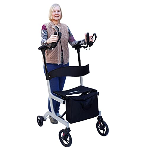 Upright Posture Walker Mobility Rollator – Ergonomic Lightest Weight and Foldable Stand Up Rolling Walking Aid with Comfortable Seat, Backrest, Padded Armrests and Tote Bag for Seniors and Adults