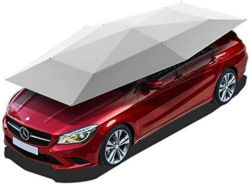 LLSS Autozelt Halbautomatisch, 4,8 x 2,3 m tragbare, gefaltete Universal-Regenschirmabdeckung Carport wasserdicht, schneewindgeschützt Campingzelt im Freien, Silber