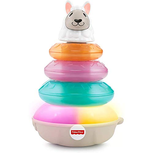 Fisher-Price GHR17 Linkimals Lights and Colours Llama, Interactive Stacking Ring Toy