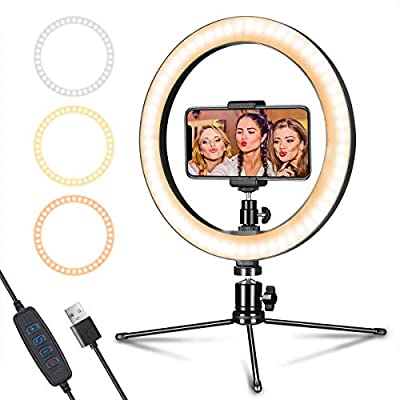 """LED Ring Light 10"""" with Tripod Stand & Phone Holder for Live Streaming & YouTube Video, Dimmable Desk Makeup Ring Light for Photography, Shooting with 3 Light Modes & 10 Brightness Level"""