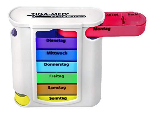 TIGA-MED Bunte Tablettenbox für 7 Tage - Pillendose - Medikamentendosierer - Medi Box - Medikamentenspender - Wochendispenser