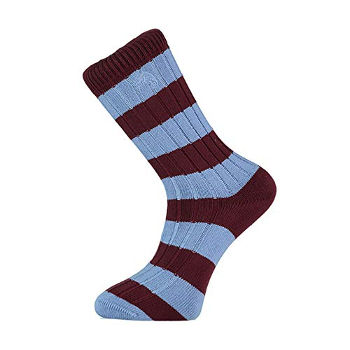 Claret and Blue Striped Socks, Perfect Gifts for West Ham, Aston Villa, and Burnley Fans, Football Fan Gifts, Size UK 7-11