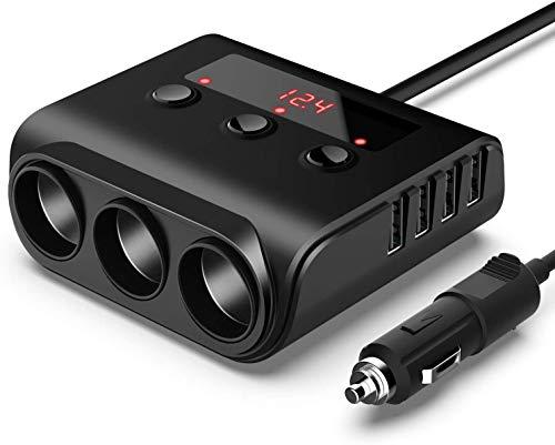 YGL 100W/12V/24V Prise Allume-Cigare de Voiture 3 Ports + 4 Ports de Charge USB, Adaptateur Chargeur avec Voltmètre LED et Interrupteur