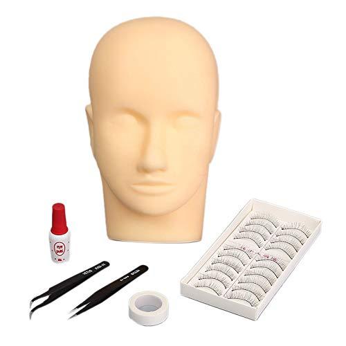 Xigeapg 6 Stück/Set Falsche Wimpern üBungs Wimpern Schau Fenster Puppe mit Makeup Schau Fenster Puppe Kopftransplantation Wimpern Werkzeuge Wimpern Transplantations üBungs Kit