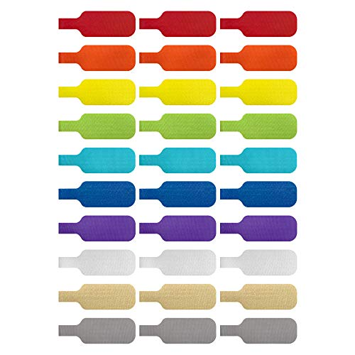 Cable Labels by Wrap-It Storage, Medium, Multi-Color (30-Pack) Write On Cord Labels, Wire Labels, Cable Tags and Wire Tags for Cable Management and Organizer for Electronics, Computers and More