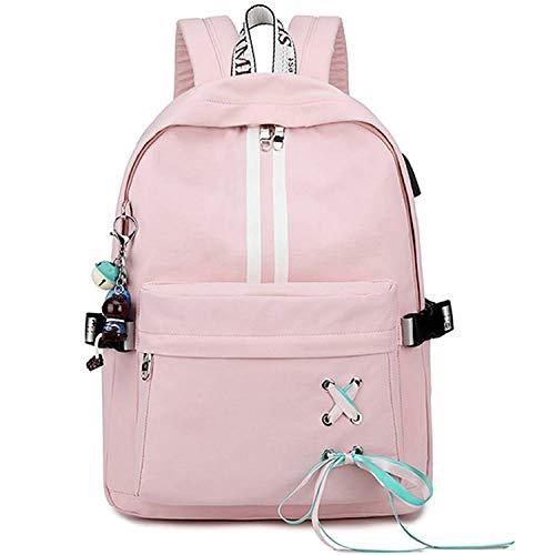 Escuela Mochila Talega de Libros Colegio Ordenador portátil USB Mochila Casual Viajes Daypack para Adolescente Chicas y Mujeres (Estilo 4-Rosa)