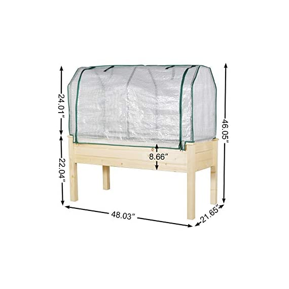 LYNSLIM PE Greenhouse Cover + Solid Wood Raised Elevated Garden Bed Planter Box for Vegetables/Flower/Fruits Herb Grow… 3 1.100% Natural Cedar Wood:This natural raised garden bed is made of non-paint, non-toxic 100% fir wood, which is known for its strength and dimensional stability as well as its natural resistance to rot and pests. 2.PE Greenhouse Cover Protects: The complete gardening kit to maximize your growing season. 3.Solid & Ample:Our raised bed provides gardeners with adequate and sturdy planting area which can hold up to 100Kg/220Lb.