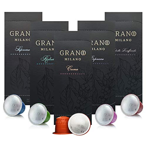 Grano Milano Coffee Capsules | Variety Pack | Nespresso* Compatible Coffee Pods | Flavoured Selection | 5 x 10 Pack (50 Pods) - 50 Count