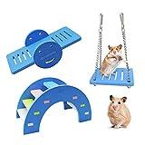 Andiker 3 piezas adorables juguetes de juego para hámsters, puente arcoíris y columpio escalada y juego; juguete para pequeños animales que rompen el aburrimiento, jaula para hámsters Fai-da-Te (azul)