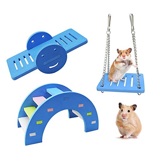 WishLotus 3pcs Lovely Hamster Play Toys, Rainbow Bridge & Seesaw & Swing, Climb and Play Toy, Boredom Breaker Small Animal Activity Toy, DIY Hamster Cage Accessories for Small Pets (Blue)