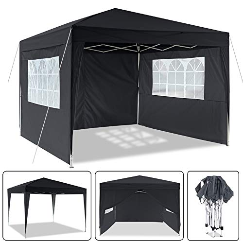 Eloklem 3x3m/ 3x6m Waterproof Garden Gazebo Marquee Awning Tent Event Shelter with Side Panels & Carry Bag for Outdoor Wedding Party (300 x 300 x 260 cm, black)