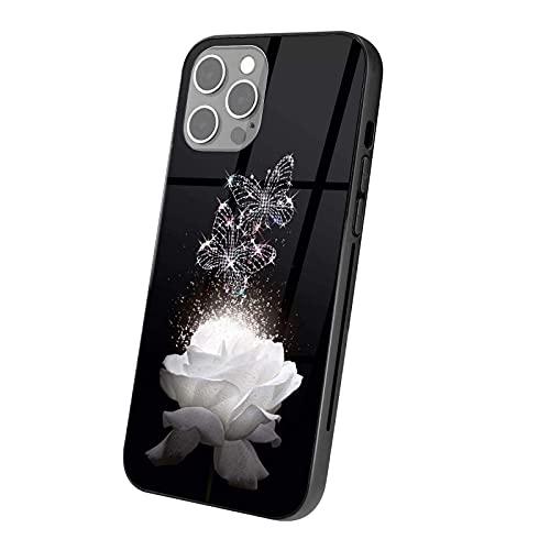 Gokruati Diseñado para el Caso del iPhone 12 Pro Antideslizante TPU Antideslizante y contraportada de Vidrio Duro para el iPhone 12 Pro para el iPhone 12 Todos los Modelos Mariposas Rosas Blancas