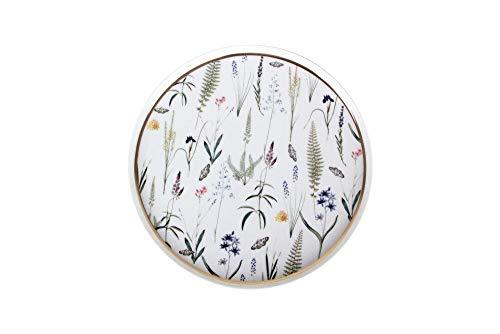 Porland Botanical - Plato llano de porcelana (27 cm, diseño de hojas, peso: 536 g, diámetro: 27,30 cm, altura: 1,44 cm, ancho: 27,30 cm, altura: 27,30 cm, 1 unidad)